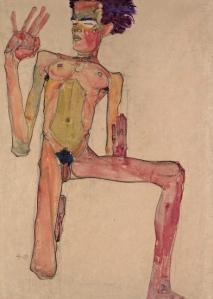 Kneeling Nude with Raised Hands (Self-Portrait), 1910